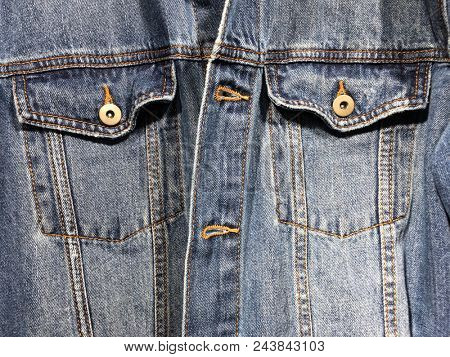 Close up,Blue jacket Jeans texxture