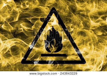 Combustible And Flammable Materials Hazard Warning Smoke Sign. Triangular Warning Hazard Sign, Smoke