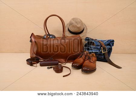 various accessories for men on wooden background