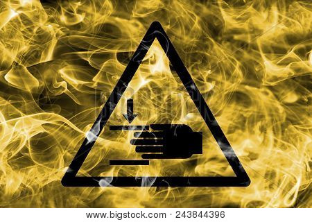 Hand Injury Hazard Warning Smoke Sign. Triangular Warning Hazard Sign, Smoke Background.