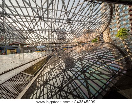 Rotterdam, The Netherlands - May 31, 2018: Railway Station Blaak. The Modern Station Is A Combined R