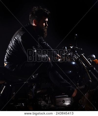 Macho, Brutal Biker In Leather Jacket Riding Motorcycle At Night Time, Copy Space. Bikers Leisure Co