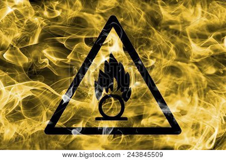Oxidising Materials Hazard Warning Smoke Sign. Triangular Warning Hazard Sign, Smoke Background.