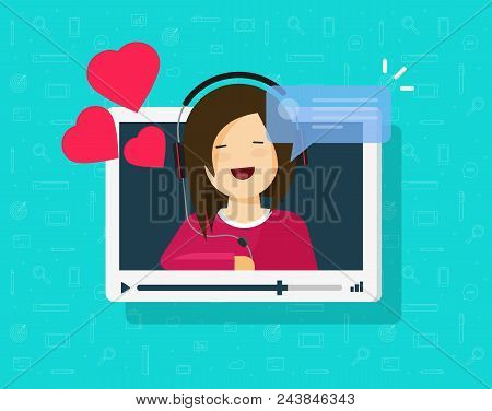 Video Call Of Happy Lovely Girl Vector Illustration, Flat Cartoon Sweetheart Person Chatting Online