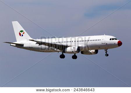 Borispol, Ukraine - May 25, 2018: Oy-lhd Danish Air Transport (dat) Airbus A320-200 Aircraft On The