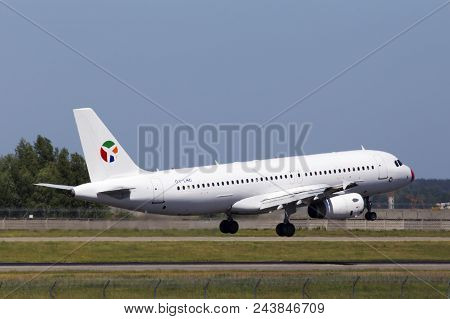 Borispol, Ukraine - May 25, 2018: Oy-lhd Danish Air Transport (dat) Airbus A320-200 Aircraft Landing