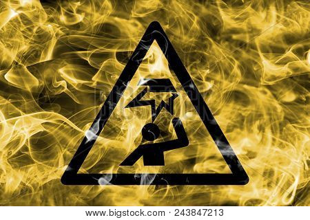 Warning Of Obstacles In The Head Area Hazard Warning Smoke Sign. Triangular Warning Hazard Sign, Smo