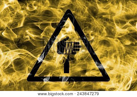 Sharp Objects Hazard Warning Smoke Sign. Triangular Warning Hazard Sign, Smoke Background.