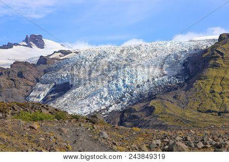 Landscape With Falljokull Glacier (falling Glacier) In Iceland