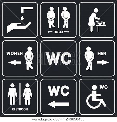 Wc Sign For Restroom Set Include Of Public Toilet For Male And Female Gender Symbols. Vector Illustr