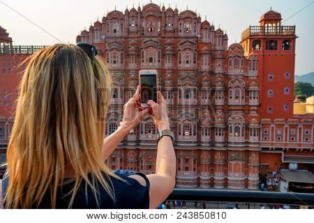 Jaipur, India - November 5, 2017: Back View Of Beautiful Young Woman Taking Phone Picture Of Hawa Ma