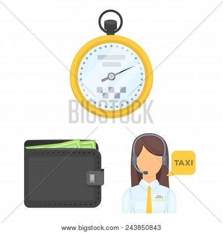Taxi Service Cartoon Icons In Set Collection For Design. Taxi Driver And Transport Vector Symbol Sto