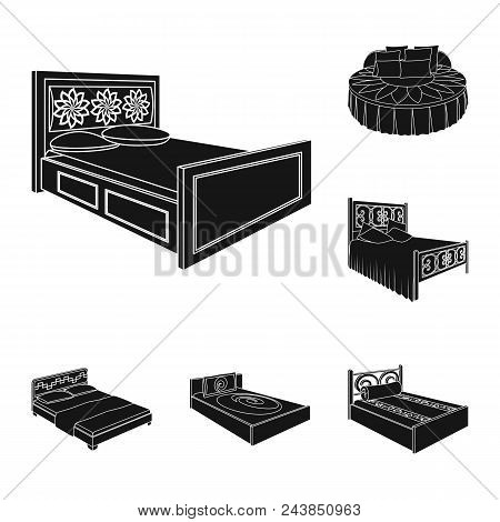 Different Beds Black Icons In Set Collection For Design. Furniture For Sleeping Vector Isometric Sym