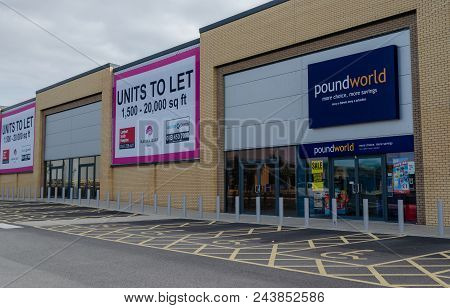 Rhyl, Uk: June 3, 2018: Poundworld Operate A Retail Store At The Marina Quay Retail Park. Several Ot