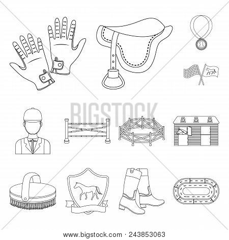 Hippodrome And Horse Outline Icons In Set Collection For Design. Horse Racing And Equipment Vector S