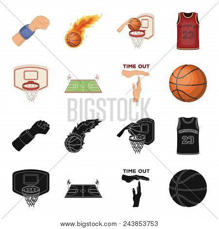 Basketball And Attributes Black, Cartoon Icons In Set Collection For Design.basketball Player And Eq