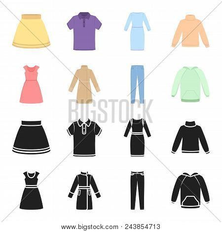 Dress With Short Sleeves, Trousers, Coats, Raglan.clothing Set Collection Icons In Black, Cartoon St