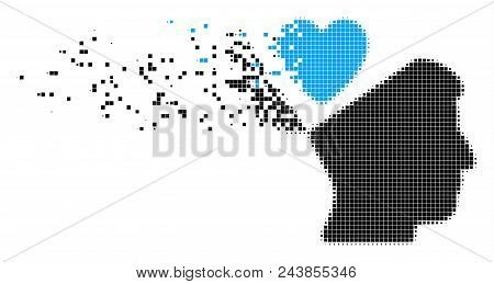 Dissolved Open Mind Love Heart Dot Vector Icon With Wind Effect. Square Pieces Are Composed Into Dis