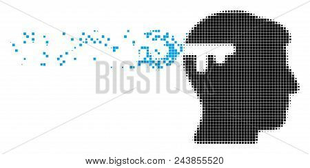 Dispersed Mind Key Dot Vector Icon With Destruction Effect. Square Dots Are Organized Into Disappear