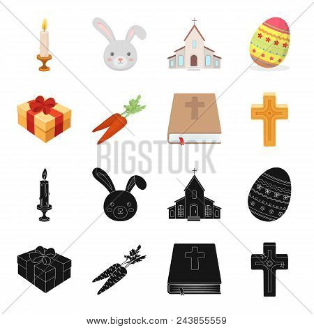 Cross, Bible, Gift And Carrots.easter Set Collection Icons In Black, Cartoon Style Vector Symbol Sto