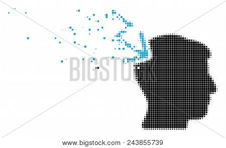 Dispersed Head Electric Strike Dot Vector Icon With Destruction Effect. Rectangle Pixels Are Arrange