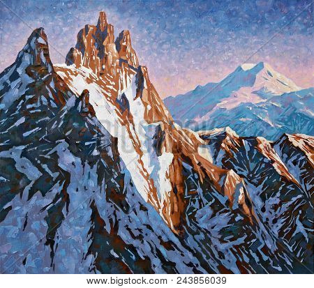 Mountain Peaks Of The Caucasus At The Early Dawn, The Peak Of Shkhelda Against The Background Of Mou