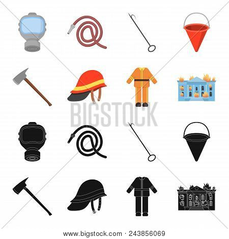 Ax, Helmet, Uniform, Burning Building. Fire Departmentset Set Collection Icons In Black, Cartoon Sty