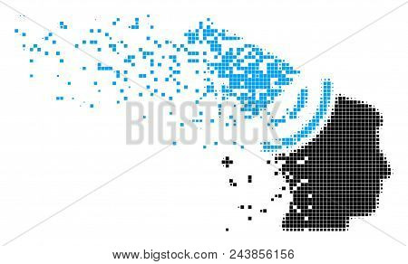 Dissolved Propaganda Megaphone Dotted Vector Icon With Wind Effect. Rectangular Items Are Arranged I
