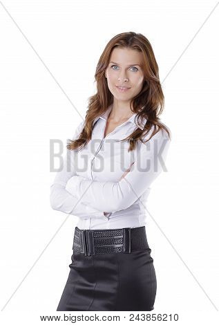 Confident Young Business Woman Isolated On White Background.photo With Copy Space