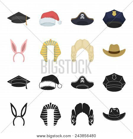 Rabbit Ears, Judge Wig, Cowboy. Hats Set Collection Icons In Black, Cartoon Style Vector Symbol Stoc