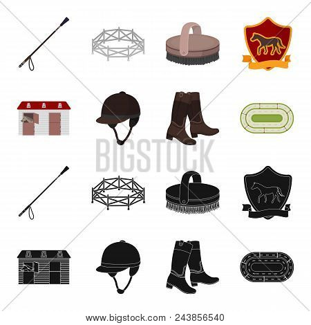 Boots, Grass, Stadium, Track, Rest .hippodrome And Horse Set Collection Icons In Black, Cartoon Styl