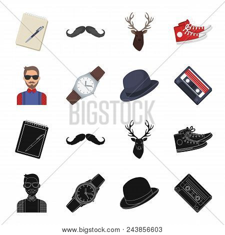 Hipster, Fashion, Style, Subculture .hipster Style Set Collection Icons In Black, Cartoon Style Vect