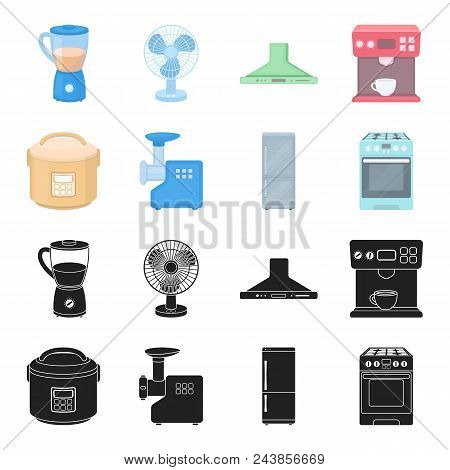 Multivarka, Refrigerator, Meat Grinder, Gas Stove.household Set Collection Icons In Black, Cartoon S