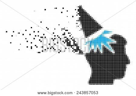 Dissolved Open Mind Megaphone Dotted Vector Icon With Wind Effect. Rectangular Dots Are Organized In