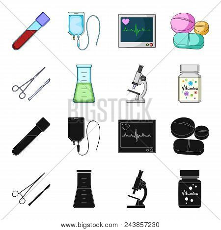 A Bank Of Vitamins, A Flask With A Solution And Other Equipment.medicine Set Collection Icons In Bla