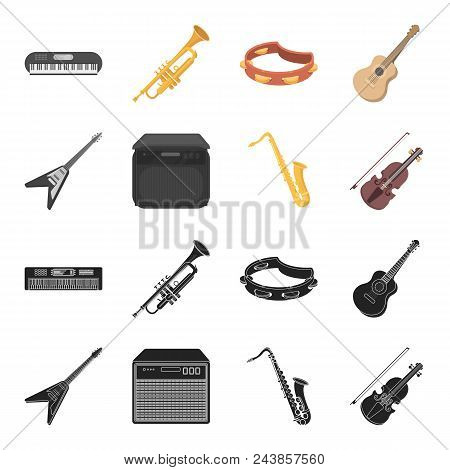 Electric Guitar, Loudspeaker, Saxophone, Violin.music Instruments Set Collection Icons In Black, Car