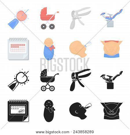 Calendar, Newborn, Stomach Massage, Artificial Feeding. Pregnancy Set Collection Icons In Black, Car