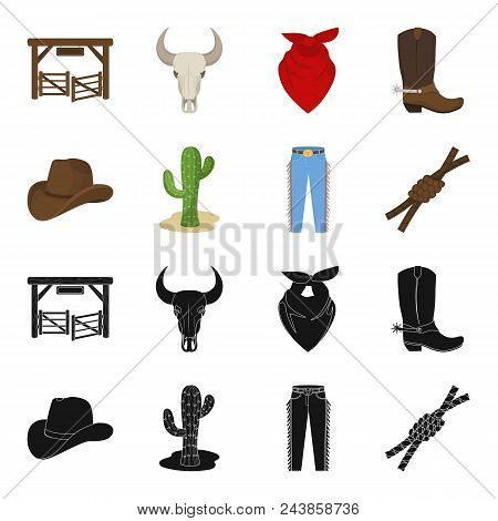 Hat, Cactus, Jeans, Knot On The Lasso. Rodeo Set Collection Icons In Black, Cartoon Style Vector Sym