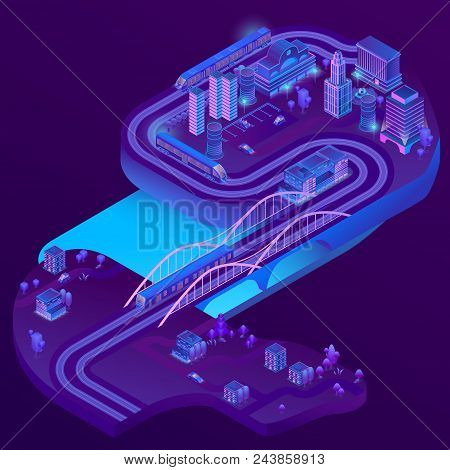 Vector 3d Isometric Train Station Of Megapolis, Railways To Suburb, Village. City Parking In Violet