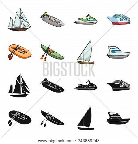 A Rubber Fishing Boat, A Kayak With Oars, A Fishing Schooner, A Motor Yacht.ships And Water Transpor