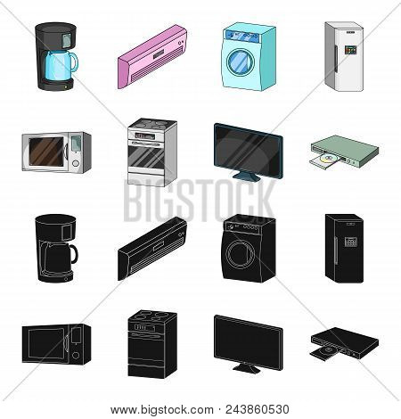 Home Appliances And Equipment Black, Cartoon Icons In Set Collection For Design.modern Household App