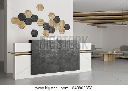 Clean Office Interior With Reception Desk And Decor Mosaic Pattern On Concrete Wall. Lobby And Entra