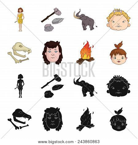 Woman, Hair, Face, Bonfire .stone Age Set Collection Icons In Black, Cartoon Style Vector Symbol Sto