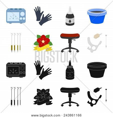 Chair On Rollers, Needles For Tattoo And Other Equipment. Tattoo Set Collection Icons In Black, Cart
