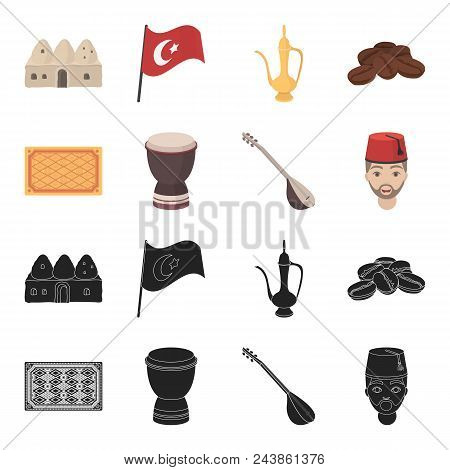 Turkish Carpet, Saz, Drum, Turkish Men.turkey Set Collection Icons In Black, Cartoon Style Vector Sy
