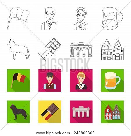 Chocolate, Cathedral And Other Symbols Of The Country.belgium Set Collection Icons In Outline, Flat