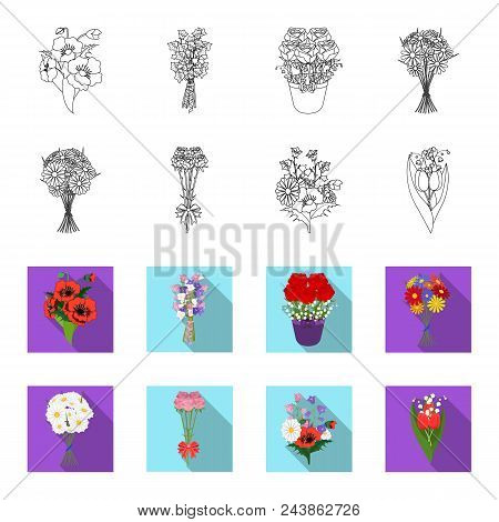 A Bouquet Of Fresh Flowers Outline, Flat Icons In Set Collection For Design. Various Bouquets Vector