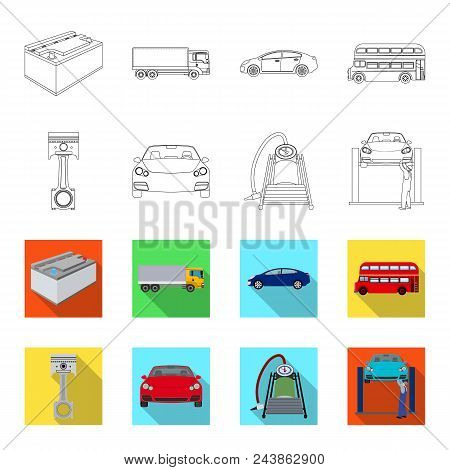 Car On Lift, Piston And Pump Outline, Flat Icons In Set Collection For Design.car Maintenance Statio