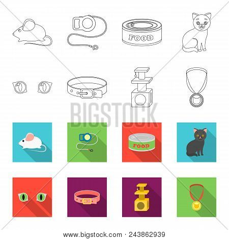Cat Eyes, A Collar, A House For A Cat, A Medal On A Ribbon.cat Set Collection Icons In Outline, Flat