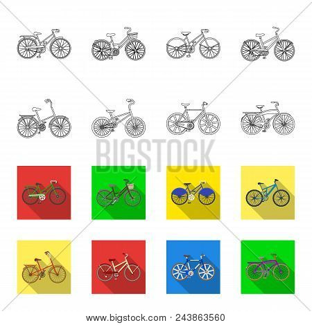 Children Bicycle And Other Kinds.different Bicycles Set Collection Icons In Outline, Flat Style Vect